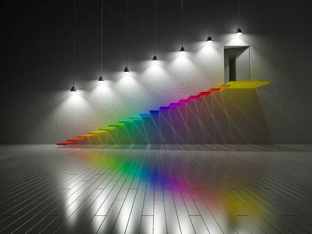 3D renderuing image of colorful stair made by glasses. Spectrum color on the cracked concrete wall and wooden floor.Light effect to cracked concrete wall by hanging lamps.