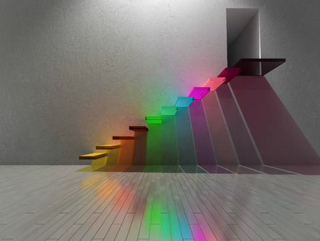 3D renderuing image of colorful stair made by glasses. Spectrum color on the cracked concrete wall and wooden floor.