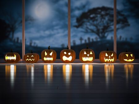 3d rendering image of 7 pumpkins head in the dark room which have big window see the graveyard, moon, tomb. Halloween background concept