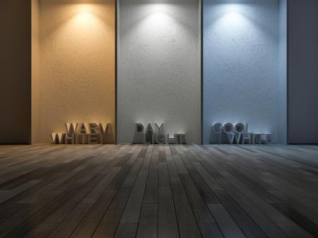 3D-rendering afbeelding van 3 kleuren op betonnen muur gemaakt door gebruik 3 verschillende lampen. Kleurtemperatuurschaal. Koel wit, warm wit, daglicht. 3 kleuren licht op de gescheurde betonnen muur en houten vloer Stockfoto