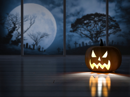 3d rendering image of pumpkin head in the dark room which have big window see the graveyard, moon, tomb. Halloween background concept