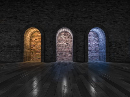 木製の床や古いレンガの壁の石の場所によって作られた 3 アーチ ドアの 3 d レンダリング画像、別の色光の効果によって作られたランプの異なる 3