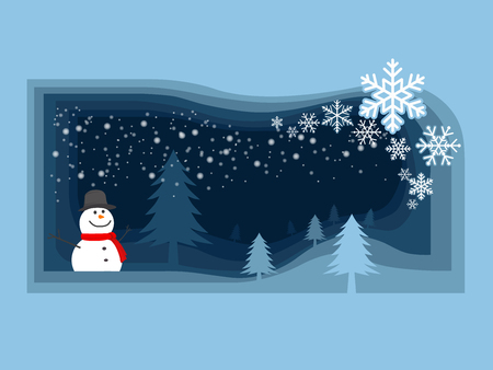 Merry Christmas and happy new year festival.Snowman and christmas tree in the field which have snowflake fall from the sky