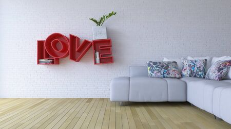 3d rendering image of interior design living room. the white color sofa set and red word  LOVE  on the wooden floor which have cracked concrete wall as background. Valentine day concept  Stock Photo