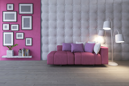 3d rendering image of interior design living room.pink heart pillow on sofa set place on the wooden floor which have photo frames on the concrete and leather wall as background. 写真素材