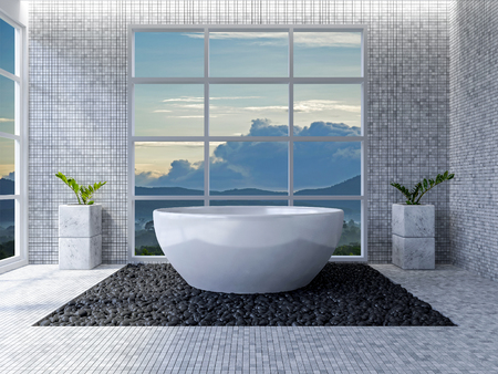 Interior bathroom design with window view mockup Stock Photo