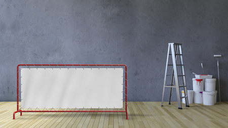 3d rendering image of a blank cracked concrete wall and wooden floor, Ladder and painting tools and color cans on the floor Stock Photo