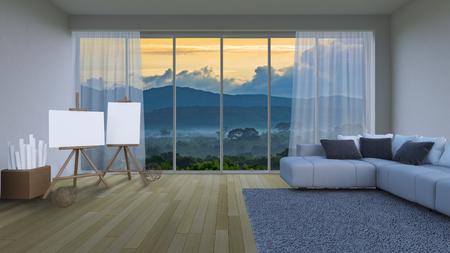 3ds rendering interior living room Stock Photo