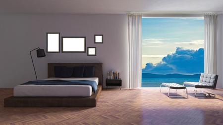 Frame mockup in modern bedroom Stock Photo