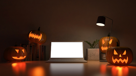 3d rendering image of working table with pumpkin head. Halloween festival background.