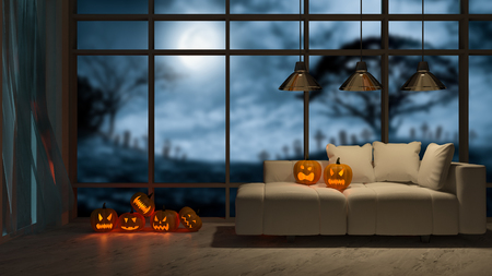 3d rendering image of interior design in halloween festival. Pumpkin head on sofa which have big window view as background, Trick or thread. Фото со стока