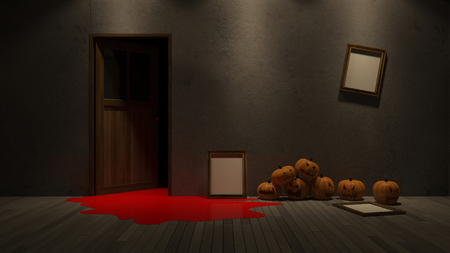 3d rendering image of pumpkin head onthe froor and photo frame on the wall. Фото со стока