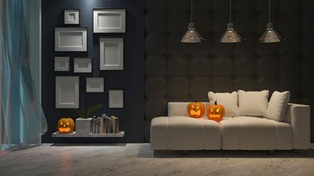 3d rendering image of interior design in halloween festival. Pumpkin head on sofa, Trick or thread. Фото со стока