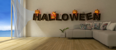 3d rendering image of living room which have Pumkind heads on the word Фото со стока