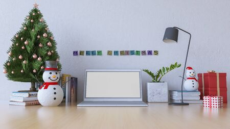 3d rendering image of working table which have snow man, christmas tree and gift box on the table. Day view.