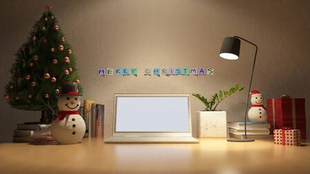3d rendering image of working table which have snow man, christmas tree and gift box on the table. Night view. Stock Photo