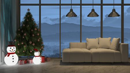 3d rendering image of living room in christmas day in night view 免版税图像