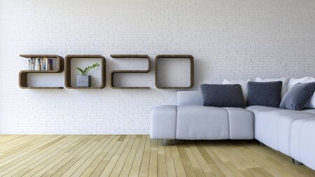 3d rendering image of 2020 wooden shelf on white brick wall. white sofa set on the wooden floor. background for new year festival.