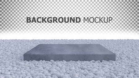 3d rendering of white color rock garden which have old cracked concrete block place on it. 写真素材