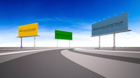 3d rendering image of billboard beside highway. 免版税图像