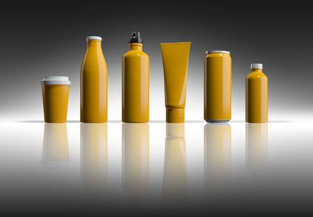 Mockup picture of 3d rendering of white bottles and cans. smart object layer for customize your design. 免版税图像