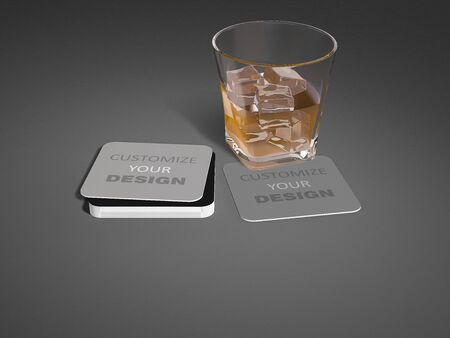 Mockup image of 3d rendering glass and mosquito nest, ciecle coasters. smart object layer which you can customize your design on coasters.