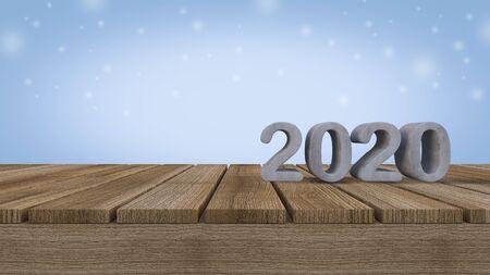 Mockup background for 3d rendering 2020 sign on  wooden panel 免版税图像