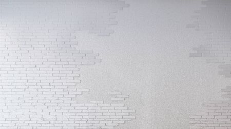 Mockup of 3d rendering image of  concrete wall which have brick texture on it, Smart object layer.