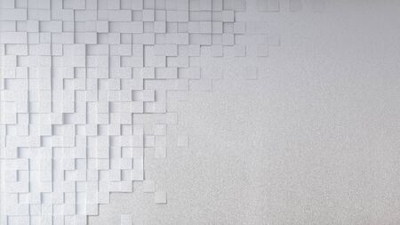 Mockup of 3d rendering image of  concrete wall which have square texture on it, Smart object layer. 免版税图像