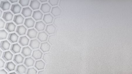 Mockup of 3d rendering image of  concrete wall which have hexagon texture on it, Smart object layer. 免版税图像