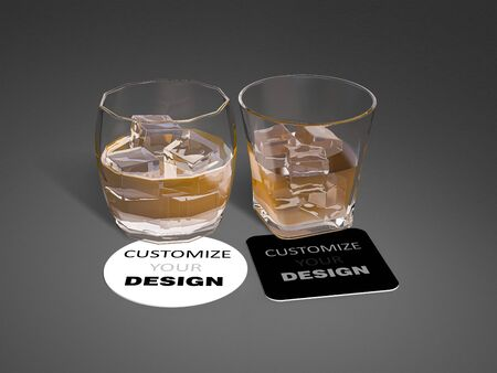 Mockup image of 3d rendering glass and square, ciecle coasters. smart object layer which you can customize your design on coasters. 免版税图像