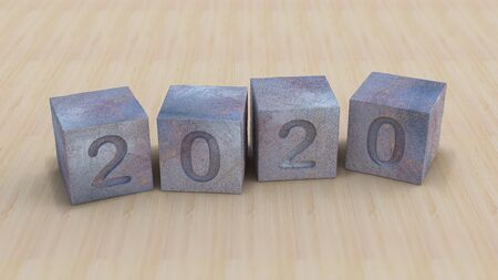Background mockup 3d rendering image of 2020 rusted steel cubes. background mockup on smart object layer. 免版税图像