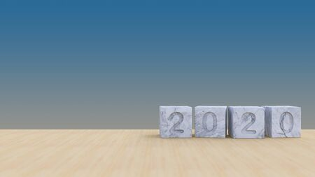 Background mockup 3d rendering image of 2020 white marble cubes. background mockup on smart object layer. 免版税图像