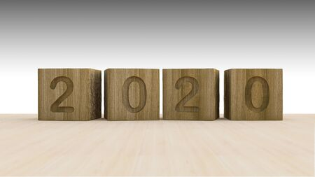 3d rendering image of 2020 wooden cubes placed on the wooden floor.