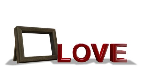 3d rendering image of mockup photo frame and LOVE word. 免版税图像