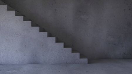 3d rendering image of concrete stair and cable shelf which have photo frame on it. Photo frame mockup.