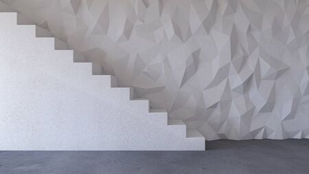 3d rendering image of polygon white concrete stair and cable shelf which have photo frame on it. Photo frame mockup. 免版税图像