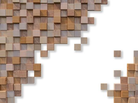 3d rendering image of a lot of cubic woods alligned to wall. Wall background. Seamless texture.Background and text box mockup