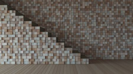3d rendering image of bwooden stair and cable shelf which have photo frame on it. Photo frame mockup.