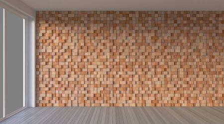 3d rendering image of interior-Living room with cubic wooden wall. Window view mockup 免版税图像