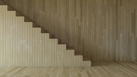 3d rendering image of wooden stair and cable shelf which have photo frame on it. Photo frame mockup.