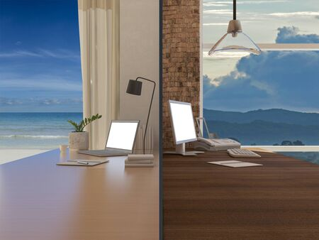 3d rendering image of 2 working tables that shows working at home but still able to connect to work At the time of a serious epidemic. 免版税图像