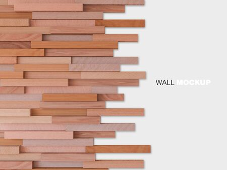 3d rendering image of a lot of cubic woods alligned to wall. Wall background.
