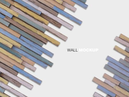3d rendering image of a lot of  woods alligned to wall. Wall background.