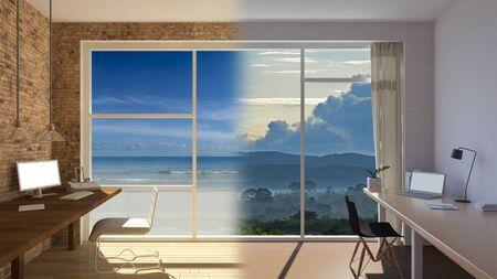 3d rendering image of 2 working tables that shows working at home but still able to connect to work At the time of a serious epidemic. window view and monitor screen mockup. 免版税图像