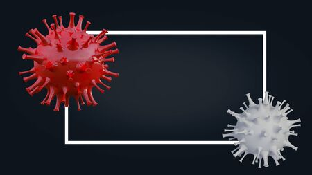 3d rendering of simple covid-19 virus model wich have text box mockup as background