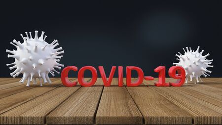 3d rendering of simple covid-19 virus model red text place on wooden panel. Background image mockup