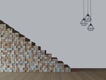 3d rendering image of wooden stair and wall background