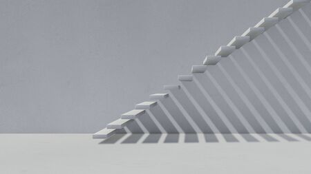 3d rendering image of concrete stair wicth shadow on the wall.