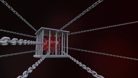 3d rendering of simple covid-19 virus mode  in iron cage on the floor.